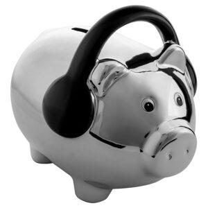 Cerdo con audífonos